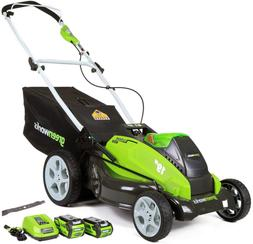 GreenWorks 19-Inch 40V Cordless Lawn Mower + Extra Blade, 1