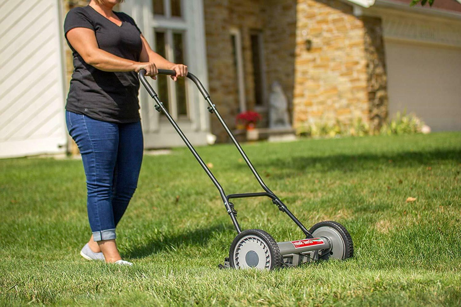 """Quiet Push Reel Lawn Mower 10"""" Easy Use Cutting"""