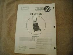 New parts manual for eXmark Metro 21 lawn mower