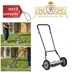 """Quiet Push Reel Lawn Mower With 10"""" Wheels Easy Use Precise"""